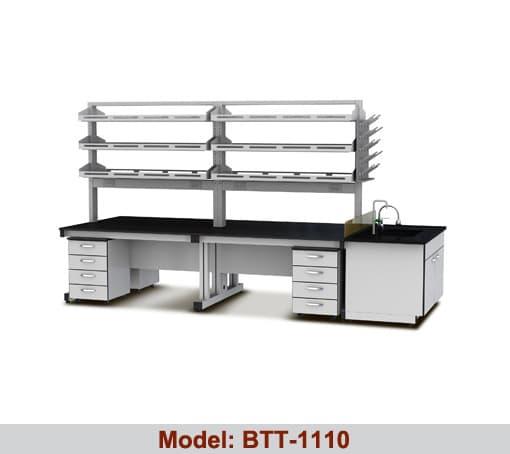 Bàn thí nghiệm trung tâm 2 hộc tủ 2 giá kệ BTT-1110