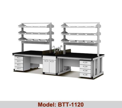 Bàn thí nghiệm trung tâm 1 bàn chậu rửa kép BTT-1120