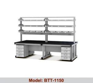Bàn thí nghiệm trung tâm 2 hộc tủ 2 giá kệ BTT-1150