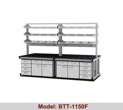 Bàn thí nghiệm trung tâm 4 hộc tủ 2 giá kệ BTT-1150F