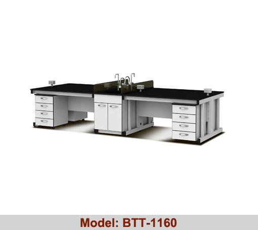 Bàn thí nghiệm trung tâm 2 hộc tủ 1 bàn chậu rửa BTT-1160