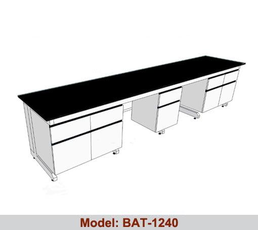 Bàn thí nghiệm áp tường 3 hộc tủ BAT-1240