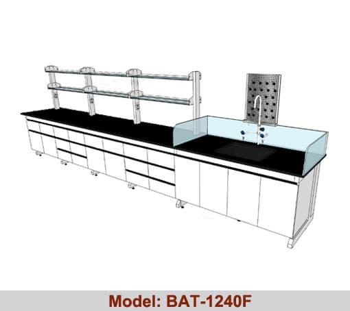 Bàn thí nghiệm áp tường 1 bàn chậu rửa BAT-1240F