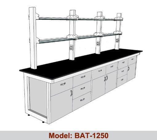 Bàn thí nghiệm áp tường giá kệ 2 tầng BAT-1250