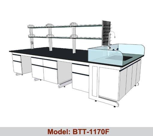 Bàn thí nghiệm trung tâm 1 bàn chậu rửa đơn BTT-1170F