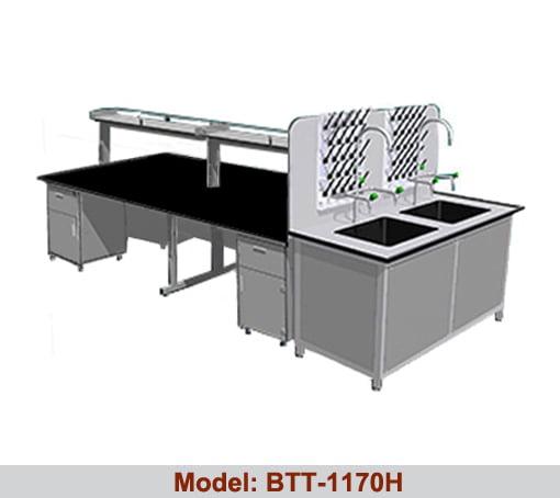 Bàn thí nghiệm trung tâm 2 bàn chậu rửa đôi BTT-1170H